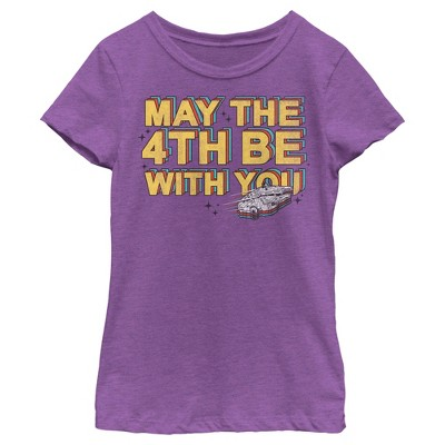 Girl's Star Wars Millennium Falcon May the 4th Be With You T-Shirt