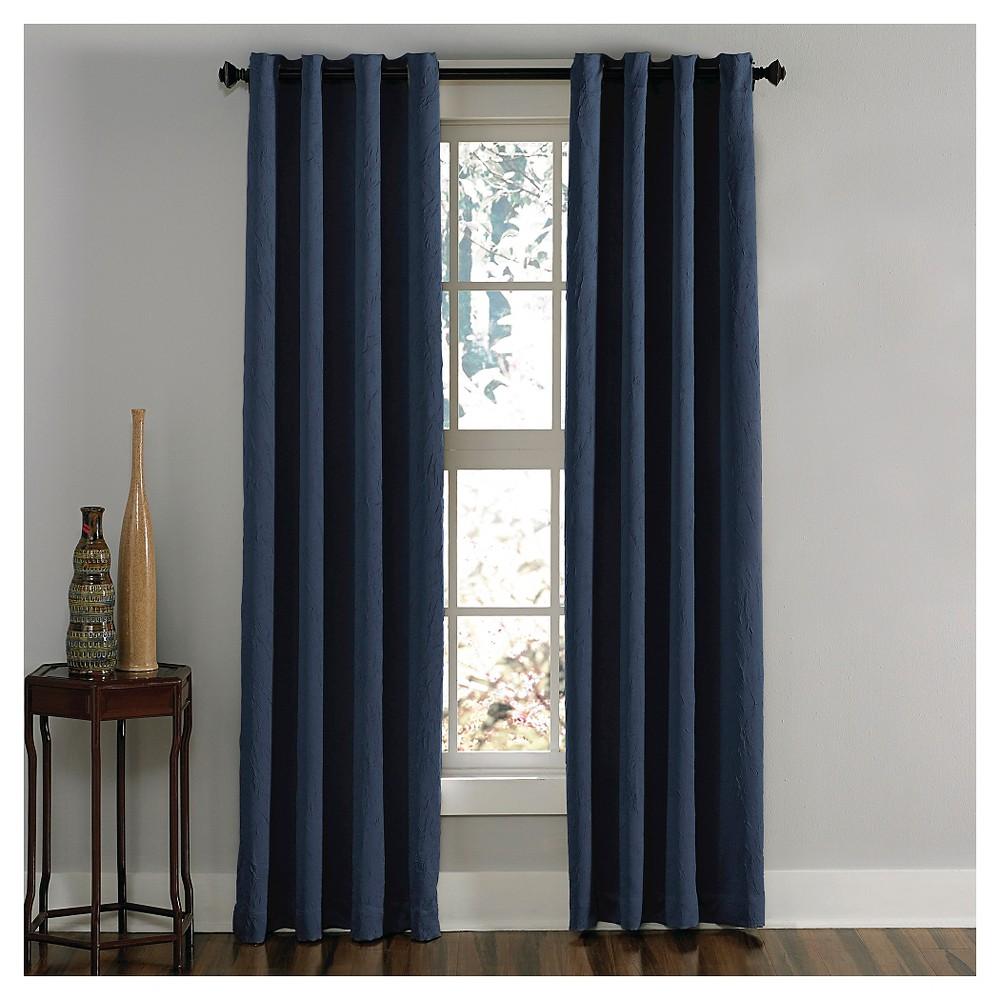 Curtainworks Lenox Room Darkening Curtain Panel - Navy (Blue) (132)