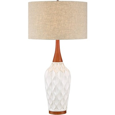 360 Lighting Mid Century Modern Table Lamp White Geometric Ceramic Wood Tan Fabric Drum Shade for Living Room Family Bedroom