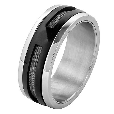 Men's West Coast Jewelry Two-Tone Stainless Steel Cable Inlay Spinner Ring