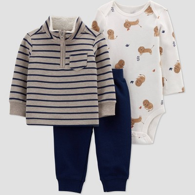 Baby Boys' Tiger Striped Mock Neck Top & Bottom Set - Just One You® made by carter's Beige/Navy Blue/Off-White 3M