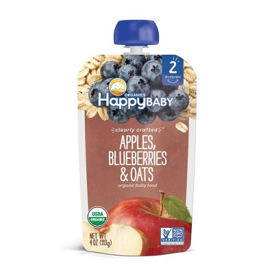 HappyBaby Clearly Crafted Apples Blueberries & Oats Baby Meals - 4oz