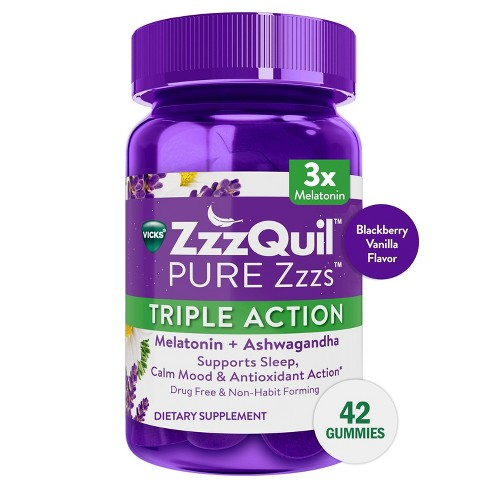 ZzzQuil Pure Zzzs Triple Strength Melatonin Gummies - 42ct - image 1 of 4