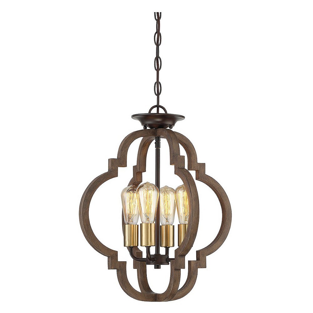 Barrel Wood with Semi Flush Mount Ceiling Lights (Set of 4) - Filament Design, Brass