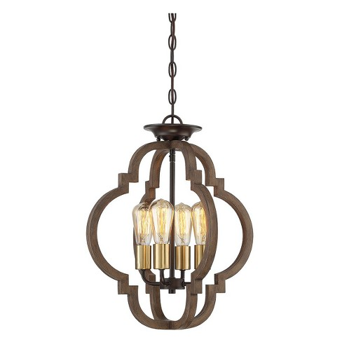 Ceiling Lights Semi-Flush Mount Barrelwood with Brass Accents - Aurora Lighting - image 1 of 1