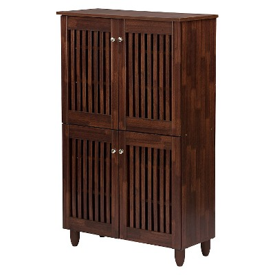 Fernanda Modern and Contemporary 4-Door Wooden Entryway Shoes Storage Tall Cabinet - Oak Brown - Baxton Studio