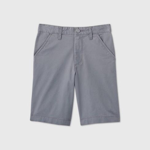 Boys' Flat Front Stretch Uniform Shorts - Cat & Jack™ Gray - image 1 of 3