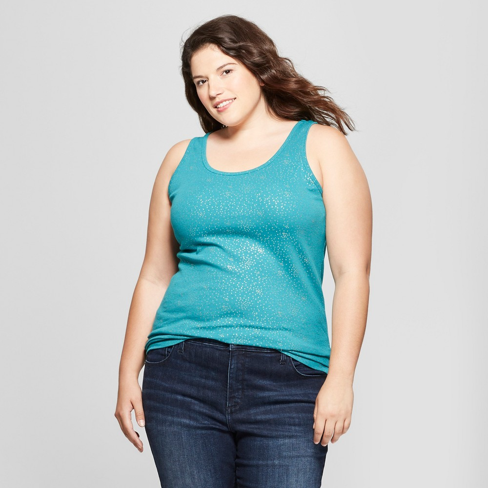 Women's Plus Size Polka Dot Perfect Tank - Ava & Viv Turquoise 3X, Blue