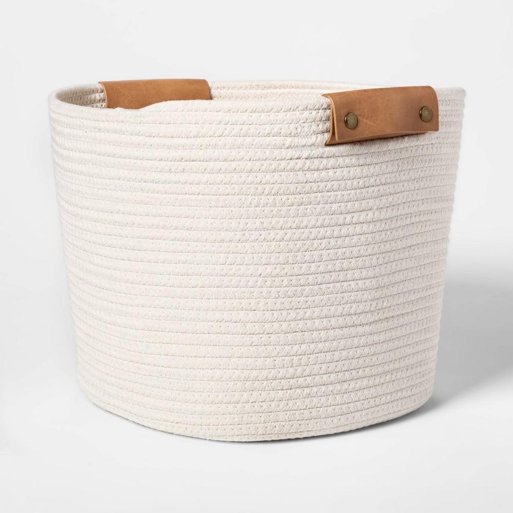 "Image of ""Decorative Coiled Rope Square Base Tapered Basket Medium White 13"""" - Threshold"""
