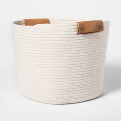 "13"" Decorative Coiled Rope Square Base Tapered Basket Medium White - Threshold™"