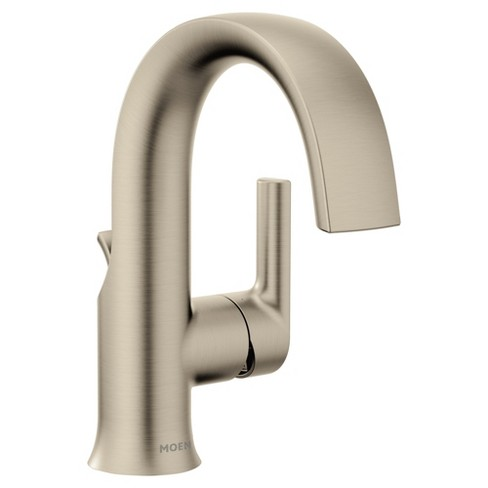 Moen S6910 Doux 1 2 Gpm Single Hole Bathroom Faucet With Pop Up Drain Assembly Brushed Nickel Target