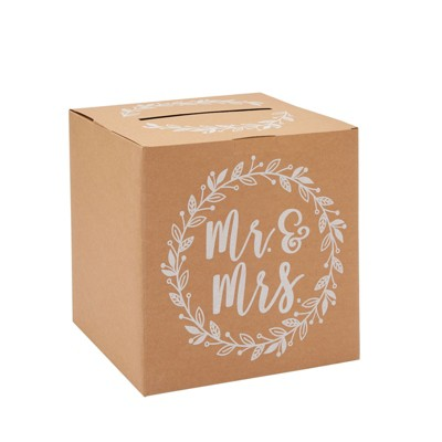 Sparkle and Bash Rustic Wedding Card Box for Reception, Mr & Mrs Design (10 in)