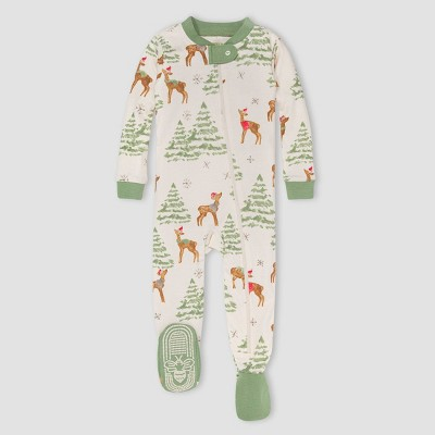 Burt's Bees Baby® Baby 'Deer with Trees' Organic Cotton Tight Fit Footed Pajama - Light Green 0-3M
