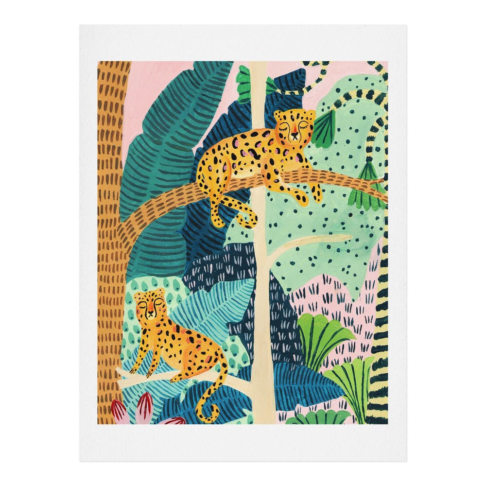 "Image of ""11"""" x 14"""" Ambers Textiles Jungle Cheetahs Wall Art Print Green - society6"""