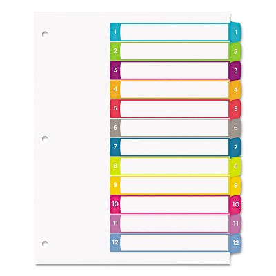 Avery Ready Index Table of Contents Dividers Multicolor Tabs 1-12 Letter 11843