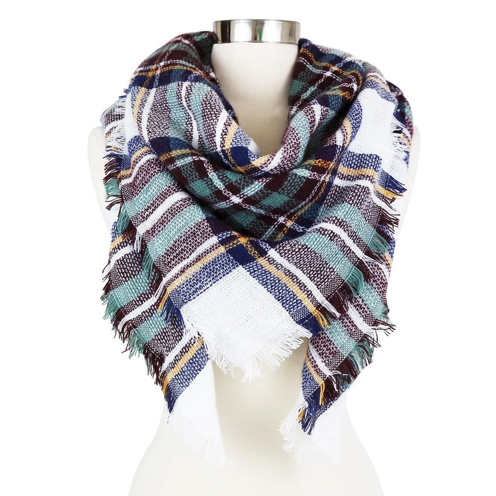 Women's Plaid Blanket Wrap Scarf White - Sylvia Alexander