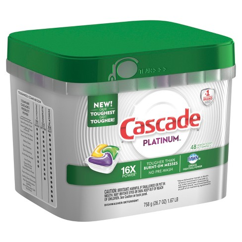 Cascade Platinum Actionpacs Dishwasher Detergent Lemon - 48ct - image 1 of 3