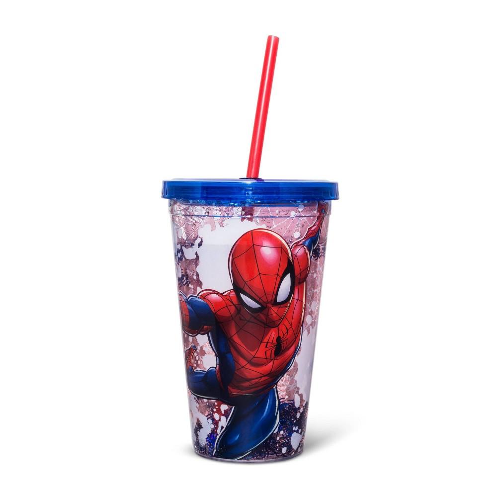 Image of Spider-Man 14oz Plastic Snow Globe Tumbler - Silver Buffalo