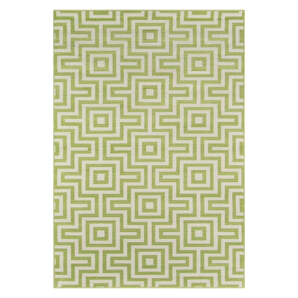 Geometric Loomed Accent Rug Green