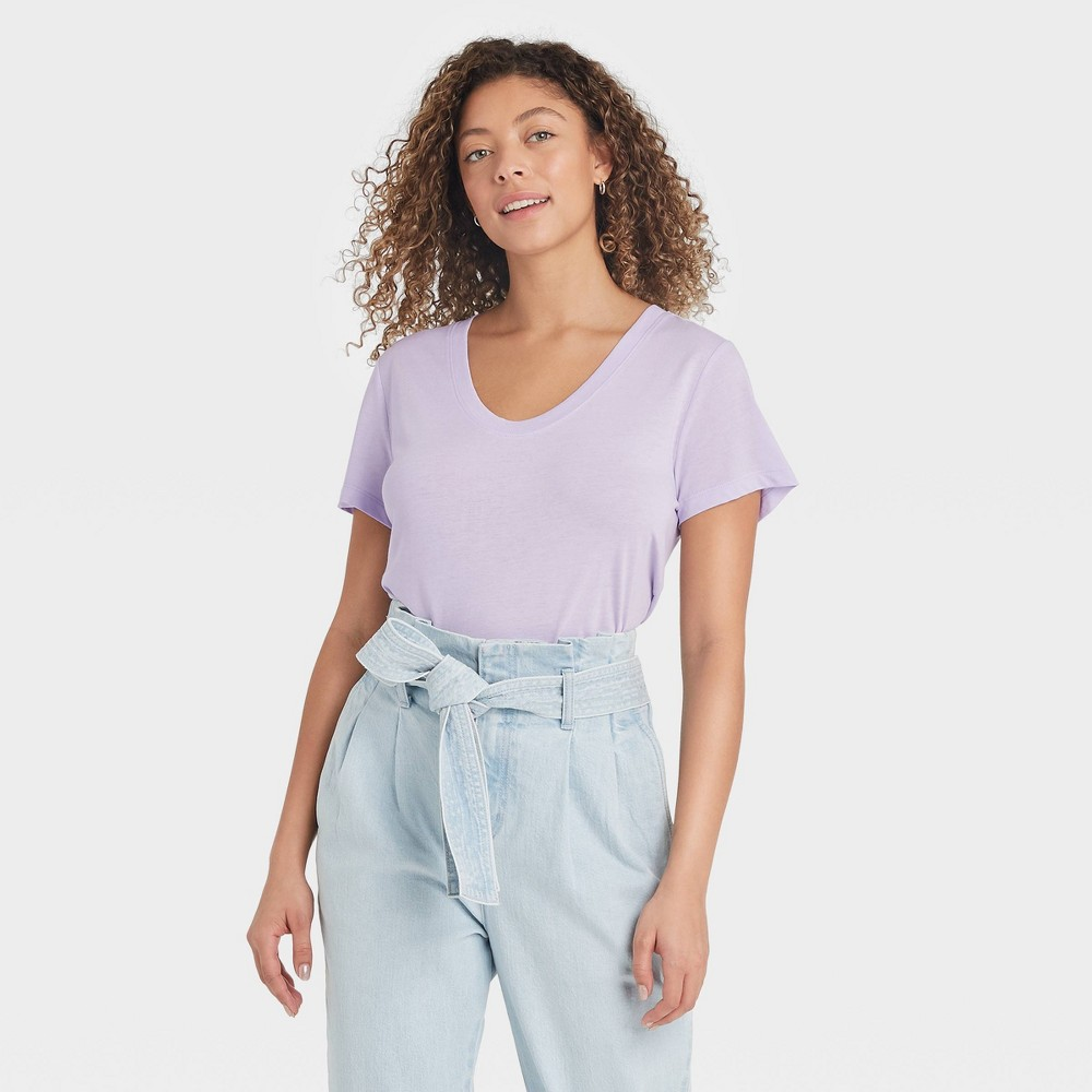 Women 39 S Short Sleeve Scoop Neck T Shirt A New Day 8482 Light Purple L