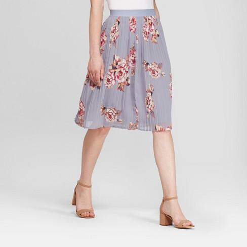 fd10d412fd57 Women's Floral Pleated Chiffon Skirt - A New Day™ Light Blue XL : Target