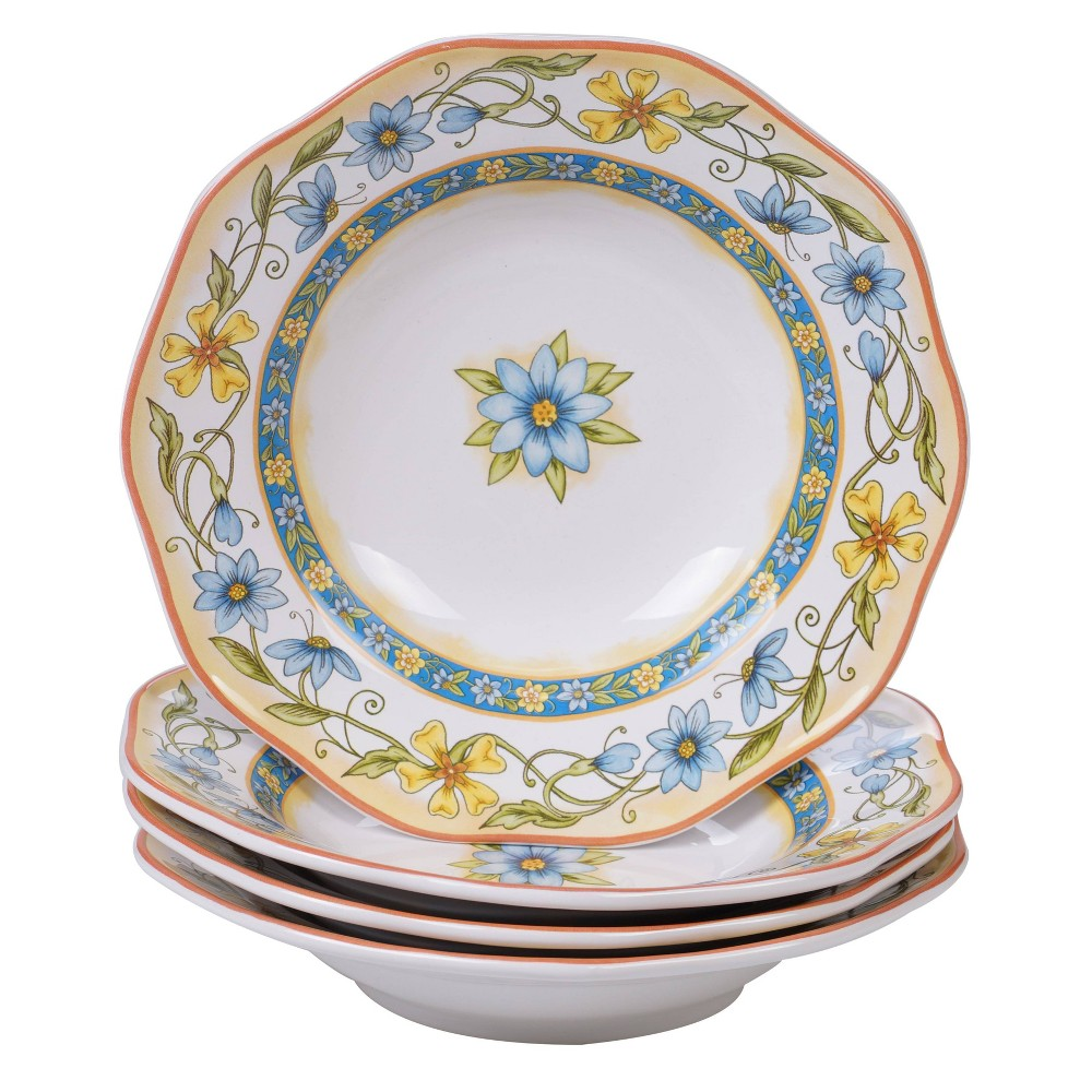 Image of 12oz 4pk Earthenware Torino Dinner Bowls White - Certified International, White Yellow Blue