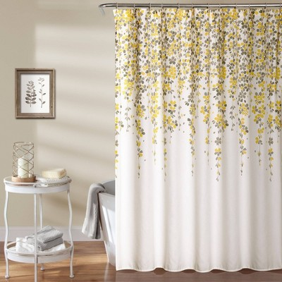 Weeping Flower Shower Curtain Yellow/Gray - Lush Decor