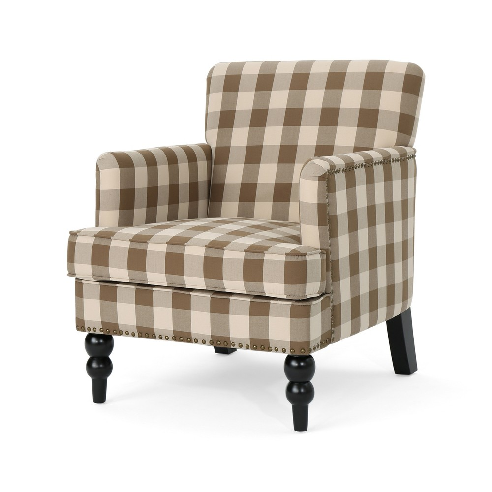 Harrison Tufted Club Chair Brown Checkerboard - Christopher Knight Home
