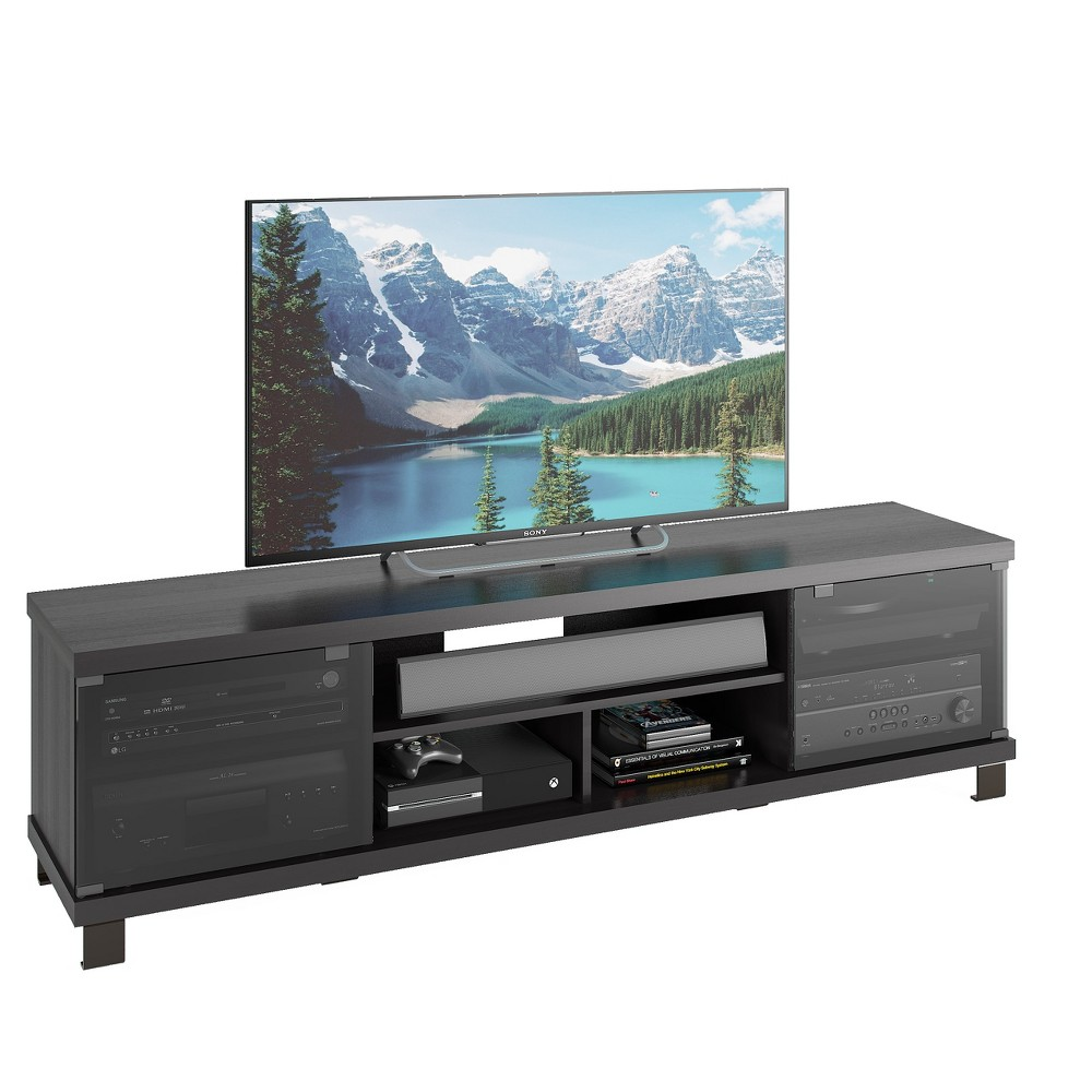 "Image of ""Holland Extra Wide Ravenwood TV Component Bench Black 71"""" - Sonax"""