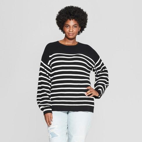 558641e8909 Women s Plus Size Striped Textured Pullover Sweater - Ava   Viv™ Black Cream