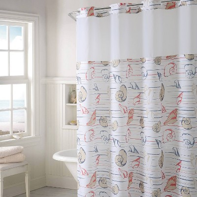 Seashell Shower Curtain with Liner - Hookless