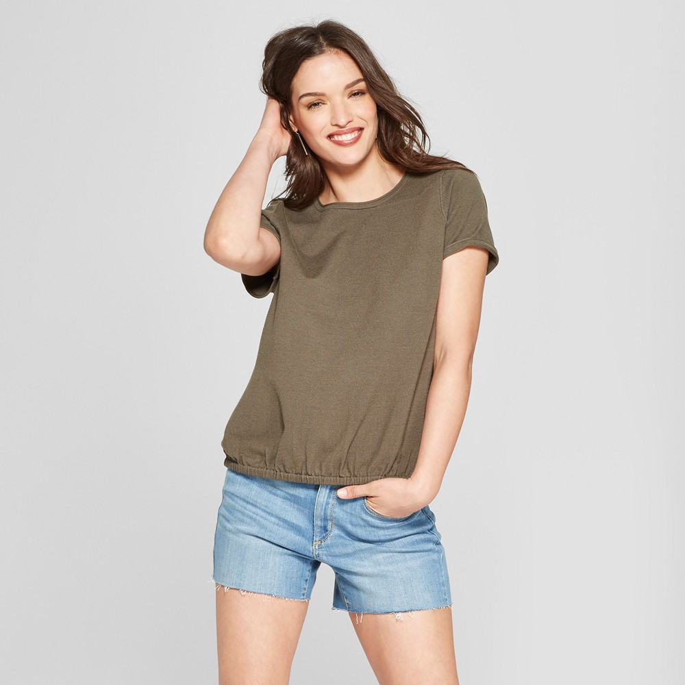 Women's Short Sleeve Sweater - Universal Thread Olive XS, Green