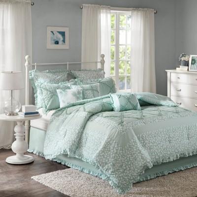 Aqua Gretchen Cotton Percale Comforter Set 9pc