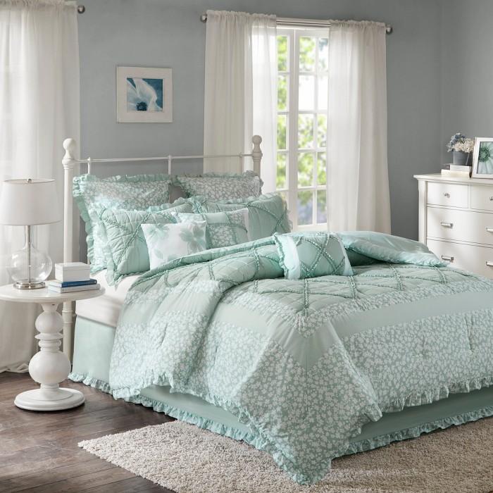 Aqua Gretchen Cotton Percale Comforter Set 9pc - image 1 of 7