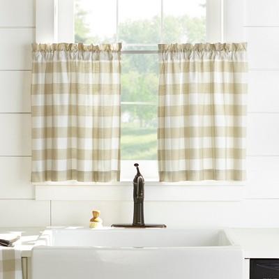 Farmhouse Living Buffalo Check Kitchen Tier Window Curtain Set of 2 - Elrene Home Fashions
