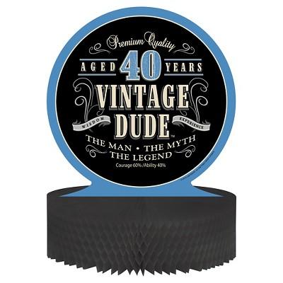Vintage Dude 40th Birthday Centerpiece