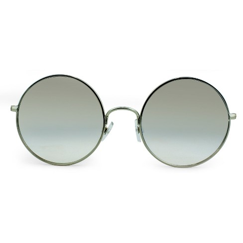 Women's Oversized Round Sunglasses with Blue Gradient Lenses - Wild Fable™ Silver - image 1 of 3