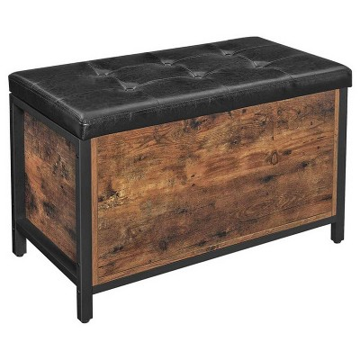 Button Tufted Leatherette Flip Top Storage Bench Black/Brown - Benzara