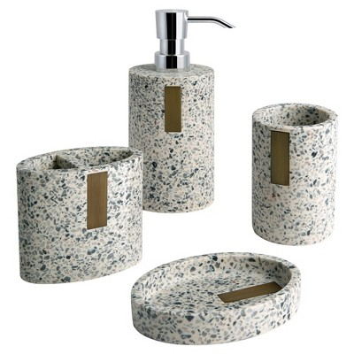 4pc Lerrazzo Lotion Pump/Toothbrush Holder/Tumbler/Soap Dish Set Gray/Natural - Allure Home Creations