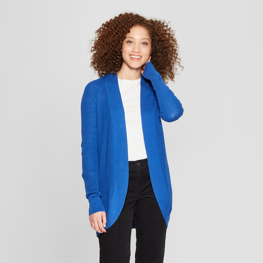 Women's Long Sleeve Cocoon Cardigan - A New Day Blue M
