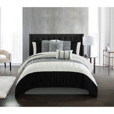 King 9pc Fae Comforter Set Black - Chic Home Design