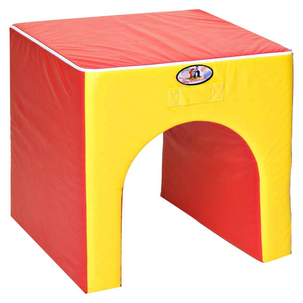 foamnasium Tunnel/Table Play Furniture - Red/ Yellow, Red/Yellow
