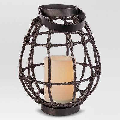 Outdoor Lantern Open Weave Rattan with Candle small - Threshold™