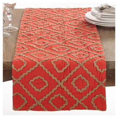 """Red Artemis Jute Embroidered Design Table Runner (16""""x72"""")- Saro Lifestyle"""