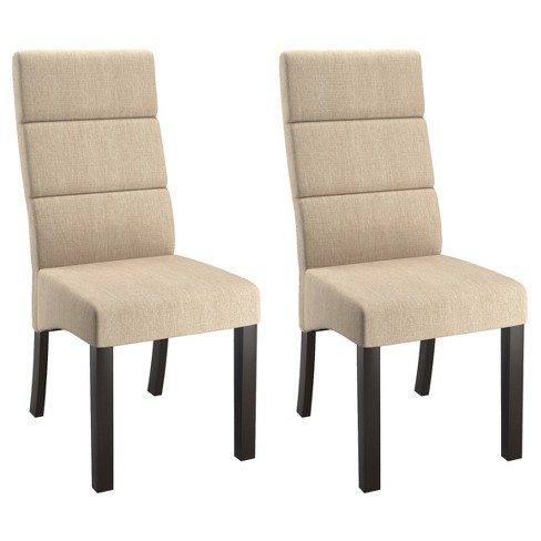Tall Back Upholstered Dining Chair Cream Set Of 2 Corliving
