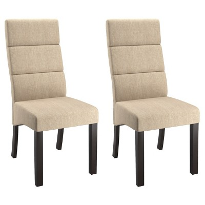 Ordinaire Tall Back Upholstered Dining Chair   Cream (Set Of 2)   CorLiving