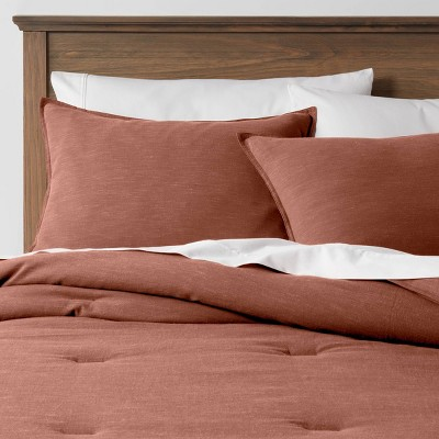 Full/Queen Space Dyed Cotton Linen Comforter & Sham Set Rust - Threshold™