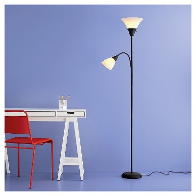 Torchiere with Task Light Floor Lamp Black Lamp Only - Room Essentials