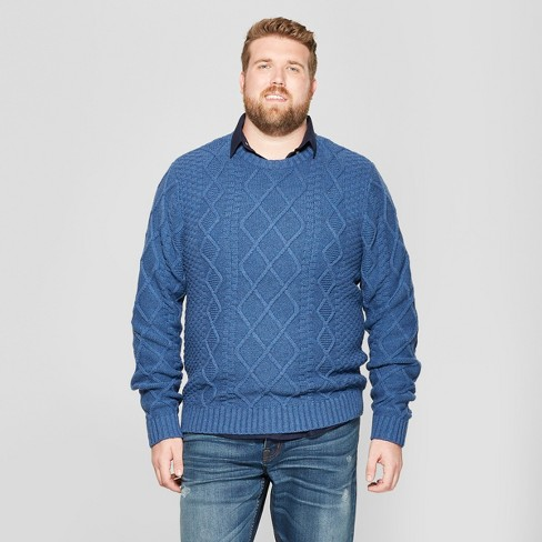 f8bd5f90cc Men s Big   Tall Long Sleeve Cable Crew Pullover Sweater - Goodfellow   Co™