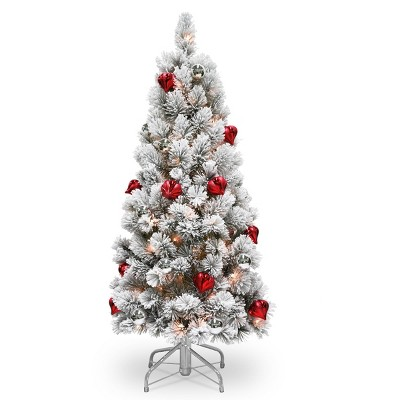 4.5ft National Christmas Tree Company Pre-Lit Snowy Bristle Pine Artificial Christmas Tree with Red & Silver Ornaments & 150 Clear Lights